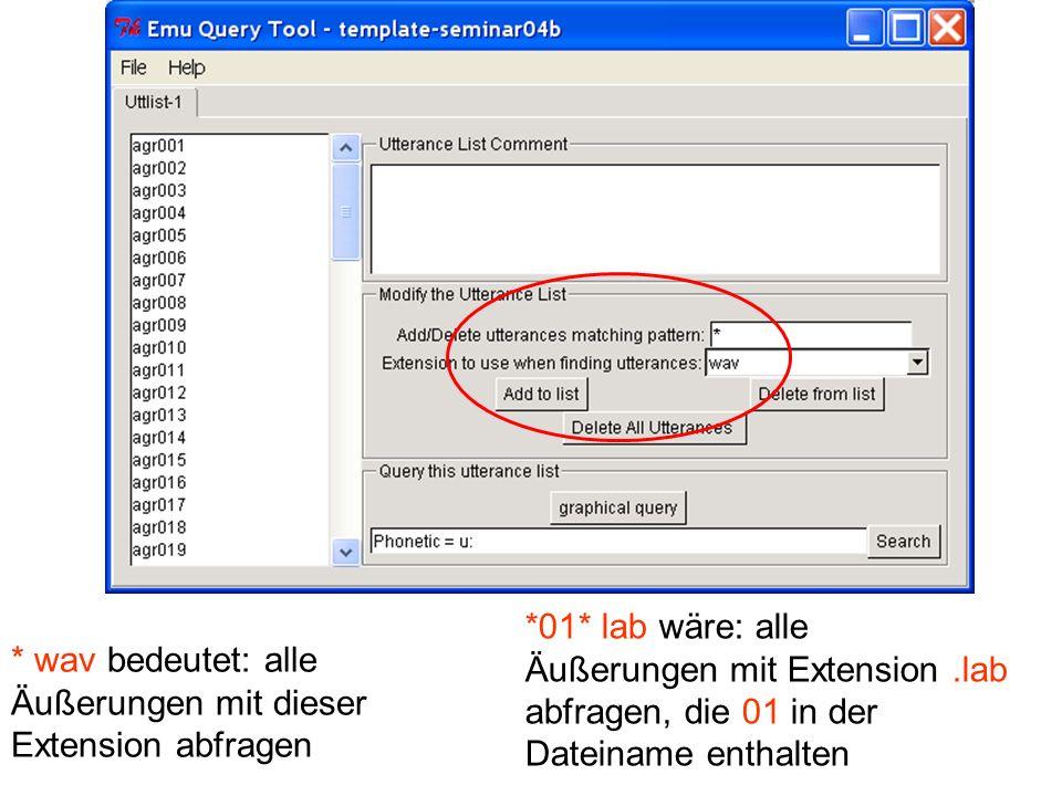 * wav bedeutet: alle Äußerungen mit dieser Extension abfragen *01* lab wäre: alle Äußerungen mit Extension.lab abfragen, die 01 in der Dateiname entha