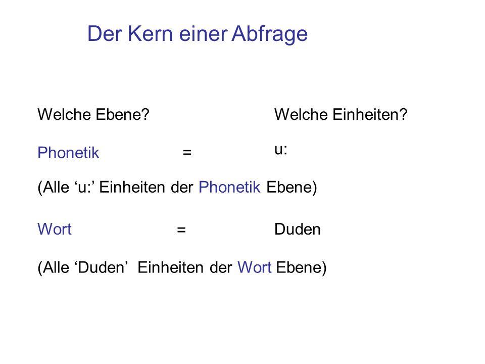 Der Kern einer Abfrage Welche Ebene?Welche Einheiten? Phonetik u: (Alle u: Einheiten der Phonetik Ebene) WortDuden (Alle Duden Einheiten der Wort Eben