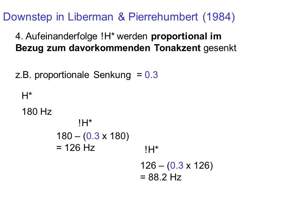 Downstep in Intonationssprachen: das Modell von Liberman & Pierrehumbert (1984) 1. Deklination ist dasselbe wie Downstep. 2. Downstep/Deklination ist