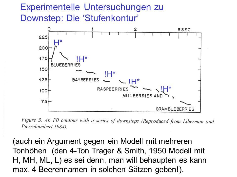 Mit Downstep wird in LP84 gerechtfertigt, dass eine Intonationsmelodie grundsätzlich aus 2 Sorten von Tönen besteht (H, L), obwohl in f0 Konturen eind