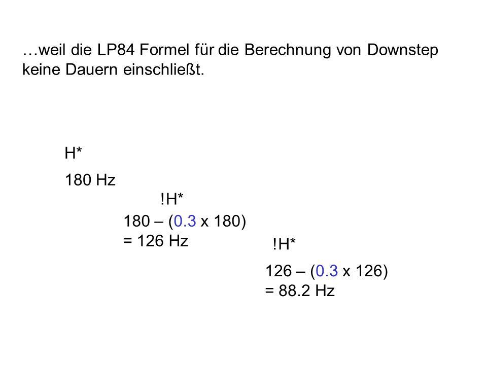 Experimentelle Beweise für das L&P Downstep Modell 1. Die f0-Höhe des ersten Tonakzents soll nicht von der Anzahl der !H* Töne (oder Dauer der Phrase)