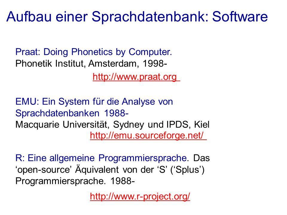 Aufbau einer Sprachdatenbank: Software Praat: Doing Phonetics by Computer. Phonetik Institut, Amsterdam, 1998- EMU: Ein System für die Analyse von Spr