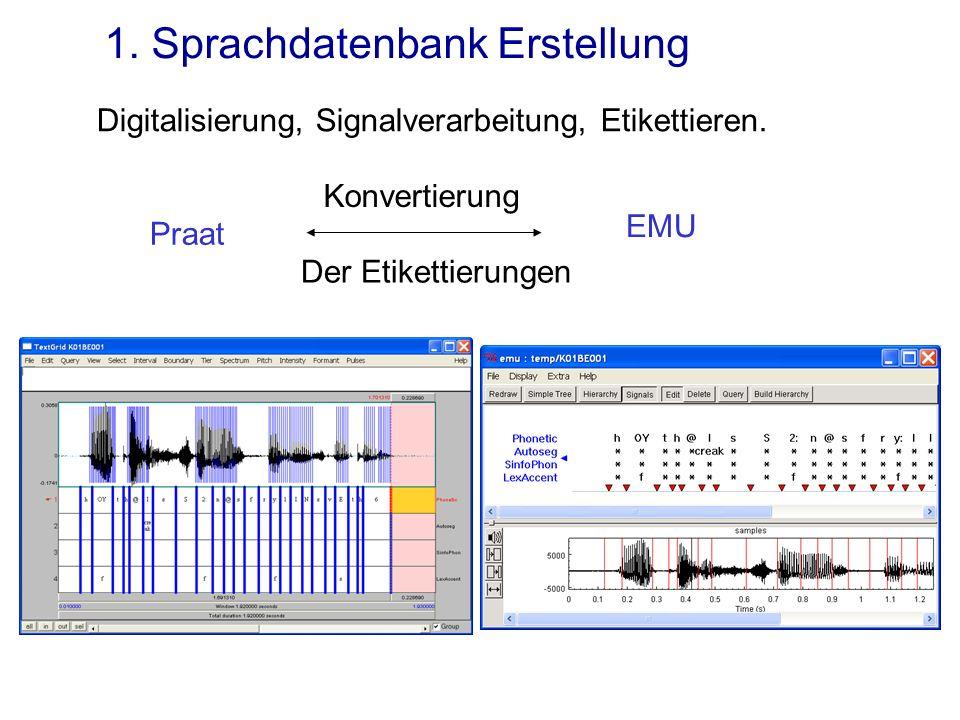 1. Sprachdatenbank Erstellung EMU Praat Digitalisierung, Signalverarbeitung, Etikettieren. Konvertierung Der Etikettierungen