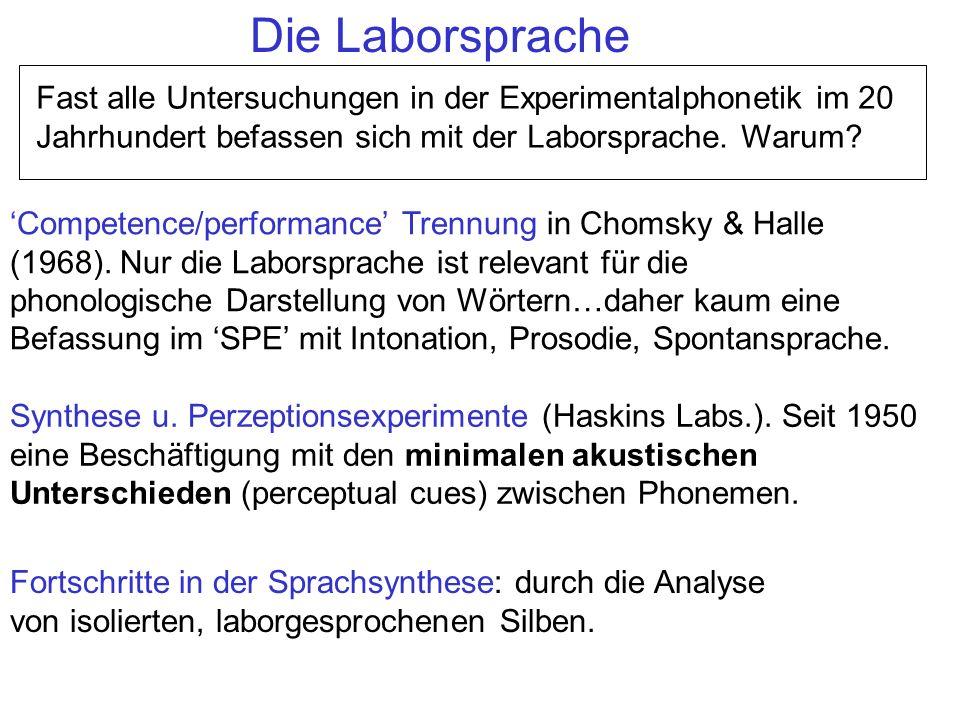 Die Laborsprache Fast alle Untersuchungen in der Experimentalphonetik im 20 Jahrhundert befassen sich mit der Laborsprache. Warum? Competence/performa
