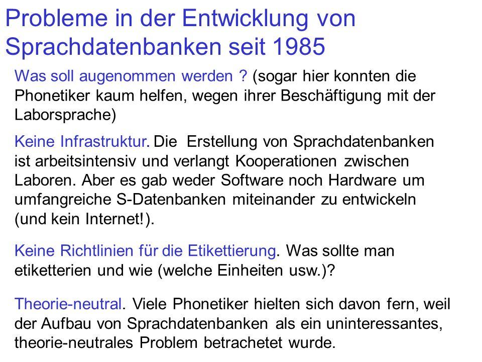 Probleme in der Entwicklung von Sprachdatenbanken seit 1985 Was soll augenommen werden ? (sogar hier konnten die Phonetiker kaum helfen, wegen ihrer B