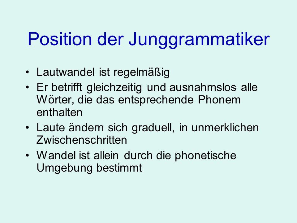 Position der Junggrammatiker Lautwandel ist regelmäßig Er betrifft gleichzeitig und ausnahmslos alle Wörter, die das entsprechende Phonem enthalten La