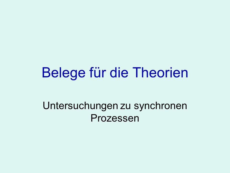 Belege für die Theorien Untersuchungen zu synchronen Prozessen