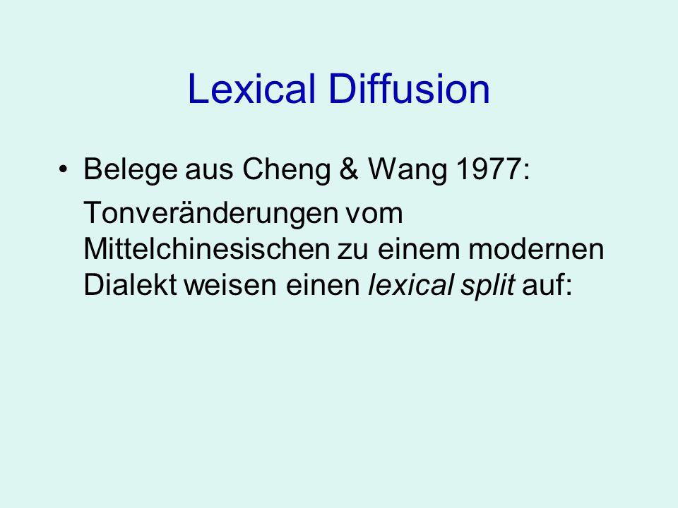 Lexical Diffusion Belege aus Cheng & Wang 1977: Tonveränderungen vom Mittelchinesischen zu einem modernen Dialekt weisen einen lexical split auf:
