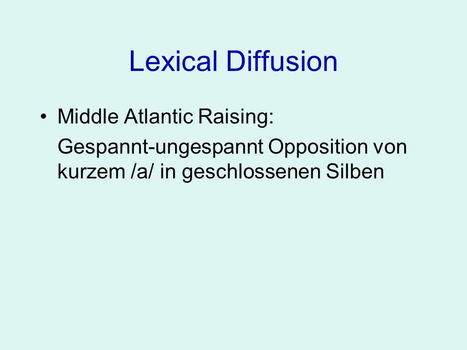 Lexical Diffusion Middle Atlantic Raising: Gespannt-ungespannt Opposition von kurzem /a/ in geschlossenen Silben