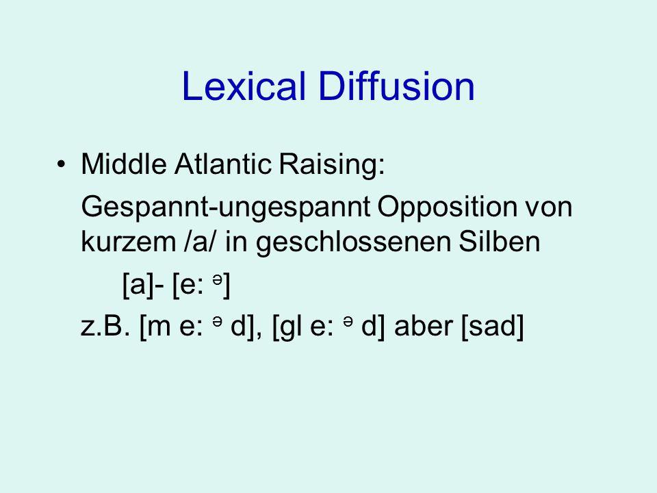 Lexical Diffusion Middle Atlantic Raising: Gespannt-ungespannt Opposition von kurzem /a/ in geschlossenen Silben [a]- [e: ə ] z.B. [m e: ə d], [gl e:
