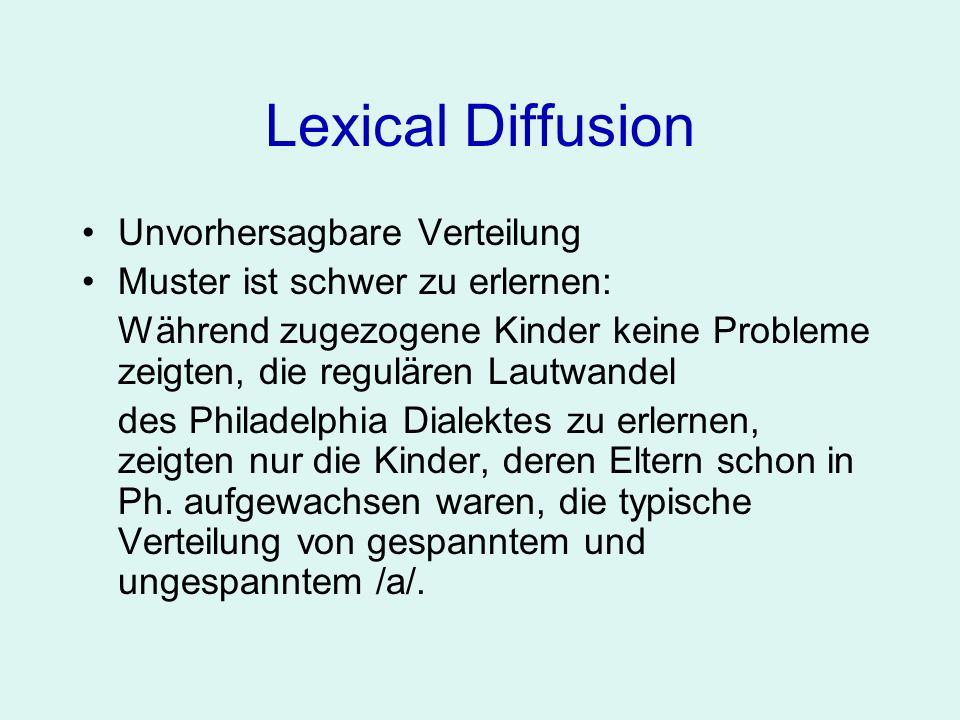 Lexical Diffusion Unvorhersagbare Verteilung Muster ist schwer zu erlernen: Während zugezogene Kinder keine Probleme zeigten, die regulären Lautwandel