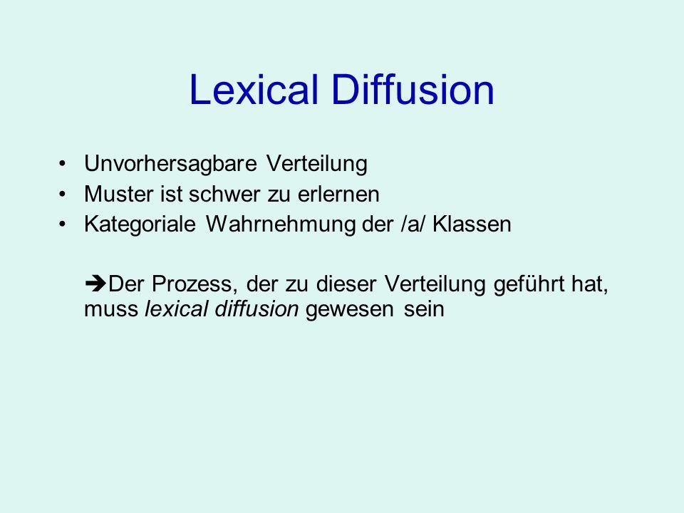 Lexical Diffusion Unvorhersagbare Verteilung Muster ist schwer zu erlernen Kategoriale Wahrnehmung der /a/ Klassen Der Prozess, der zu dieser Verteilu