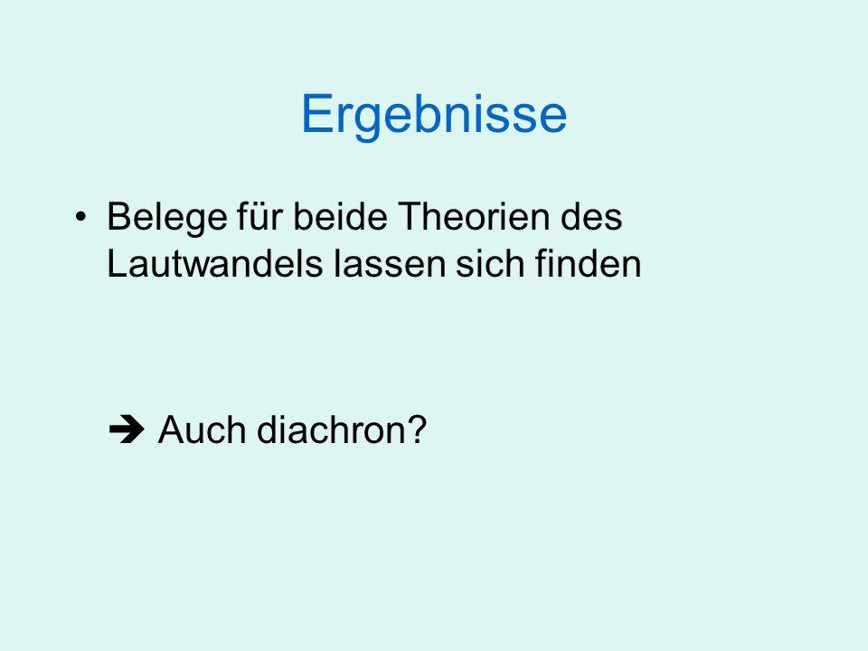 Ergebnisse Belege für beide Theorien des Lautwandels lassen sich finden Auch diachron?