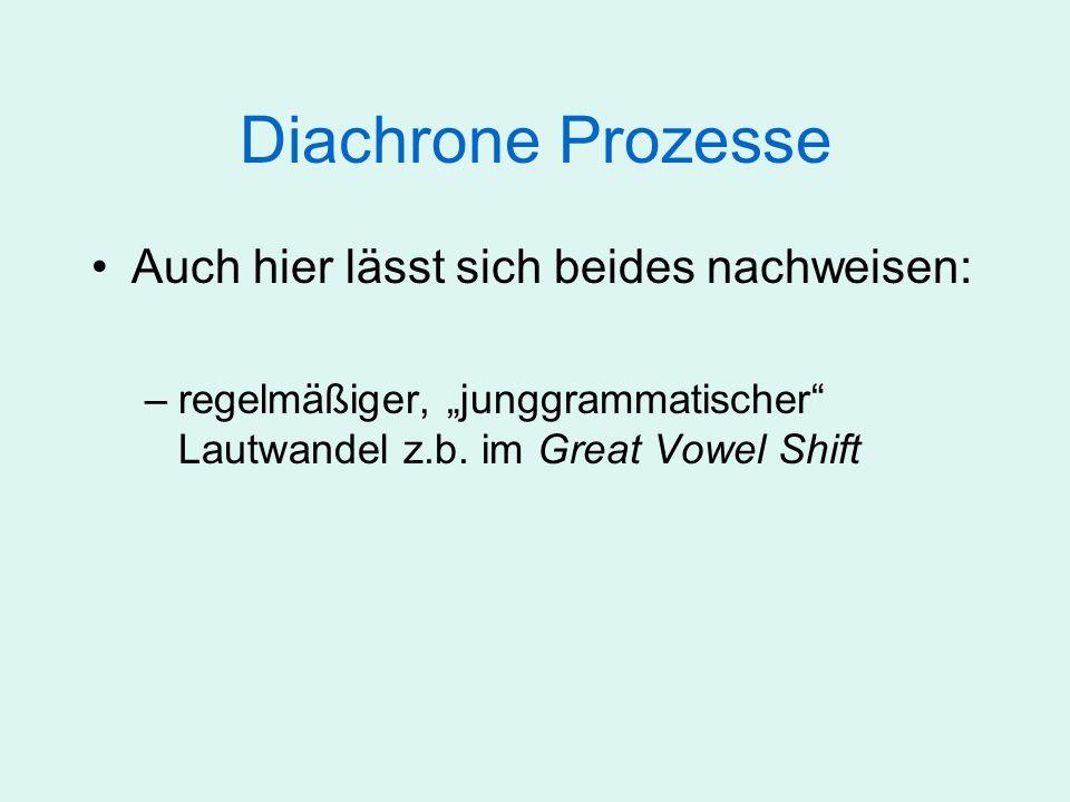 Diachrone Prozesse Auch hier lässt sich beides nachweisen: –regelmäßiger, junggrammatischer Lautwandel z.b. im Great Vowel Shift