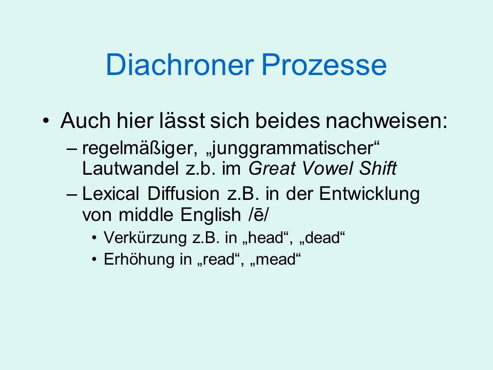 Diachroner Prozesse Auch hier lässt sich beides nachweisen: –regelmäßiger, junggrammatischer Lautwandel z.b. im Great Vowel Shift –Lexical Diffusion z