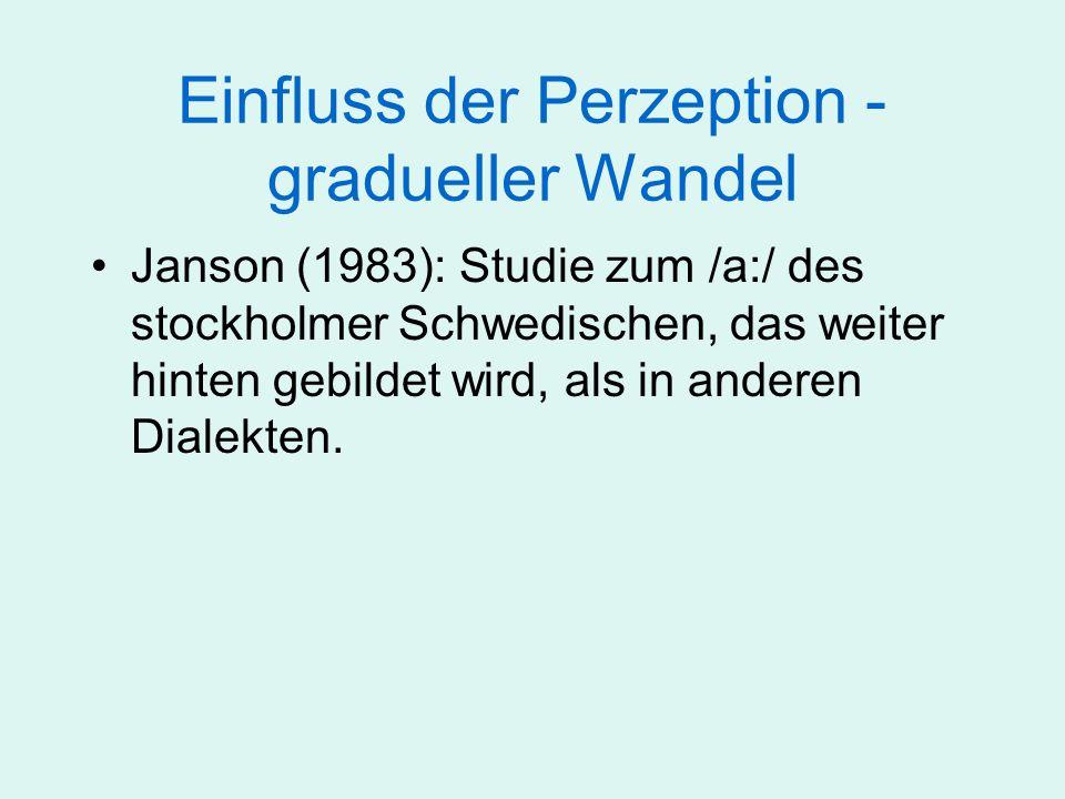 Einfluss der Perzeption - gradueller Wandel Janson (1983): Studie zum /a:/ des stockholmer Schwedischen, das weiter hinten gebildet wird, als in ander