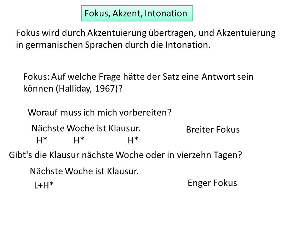 Fokus, Akzent, Intonation Fokus wird durch Akzentuierung übertragen, und Akzentuierung in germanischen Sprachen durch die Intonation. Fokus: Auf welch
