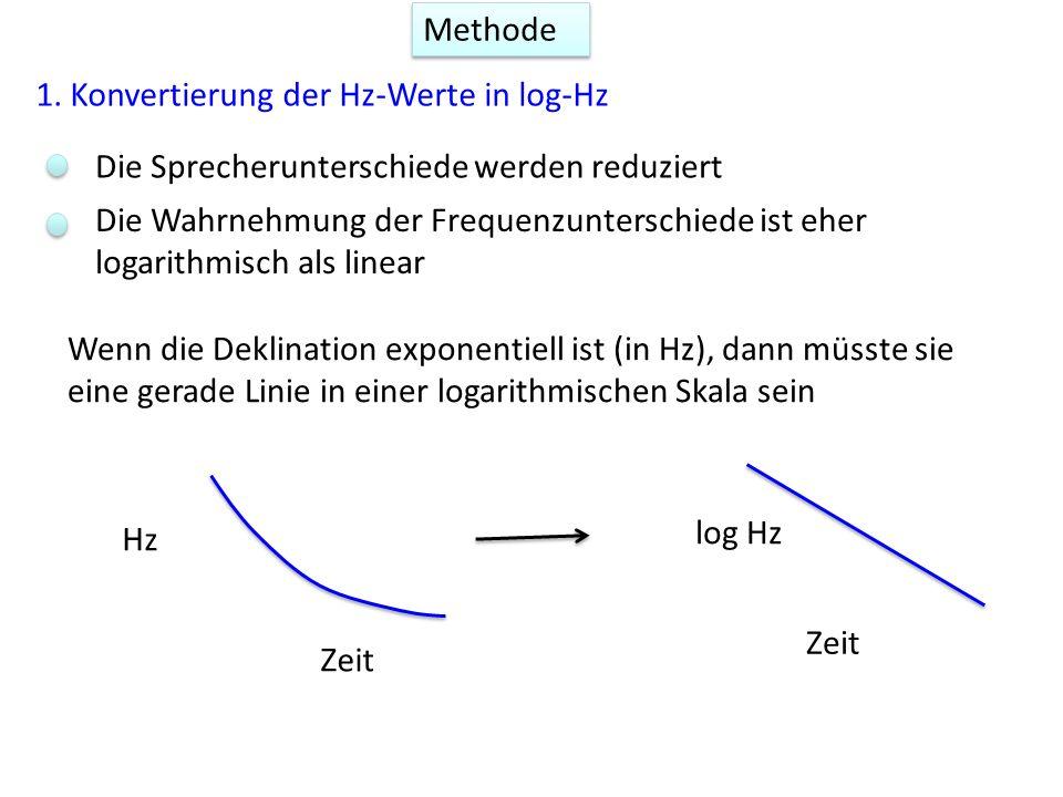 Methode 1. Konvertierung der Hz-Werte in log-Hz Die Sprecherunterschiede werden reduziert Die Wahrnehmung der Frequenzunterschiede ist eher logarithmi