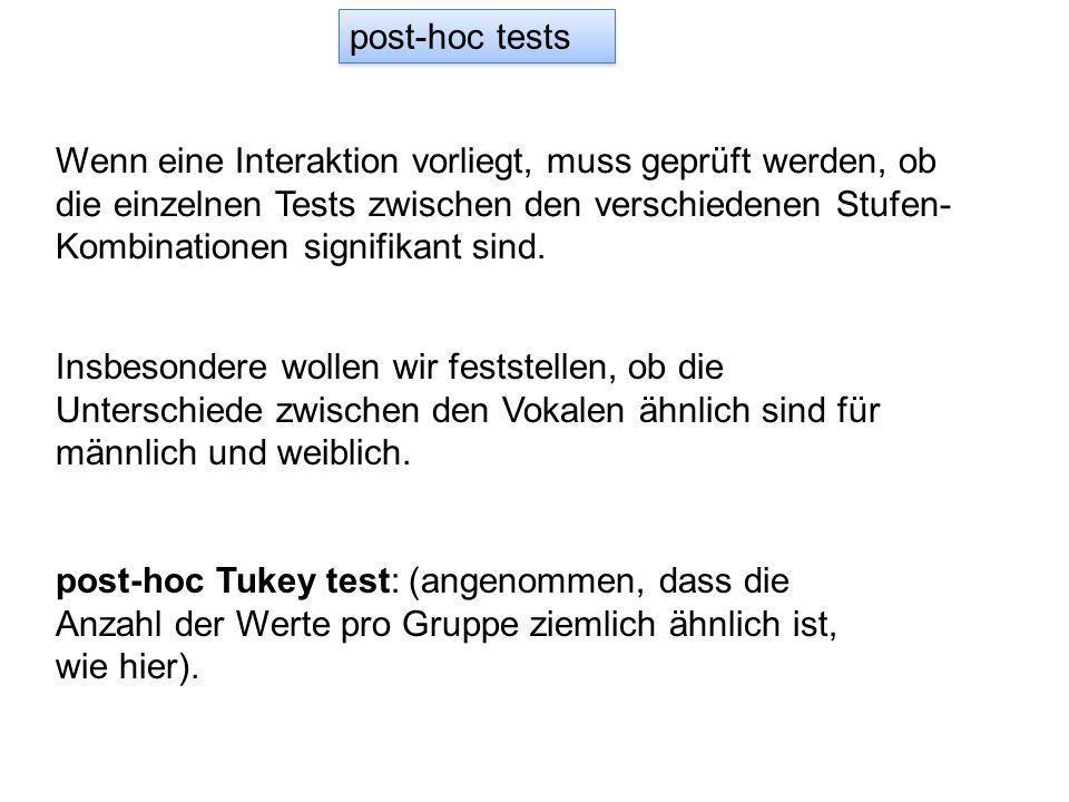 post-hoc tests Wenn eine Interaktion vorliegt, muss geprüft werden, ob die einzelnen Tests zwischen den verschiedenen Stufen- Kombinationen signifikant sind.