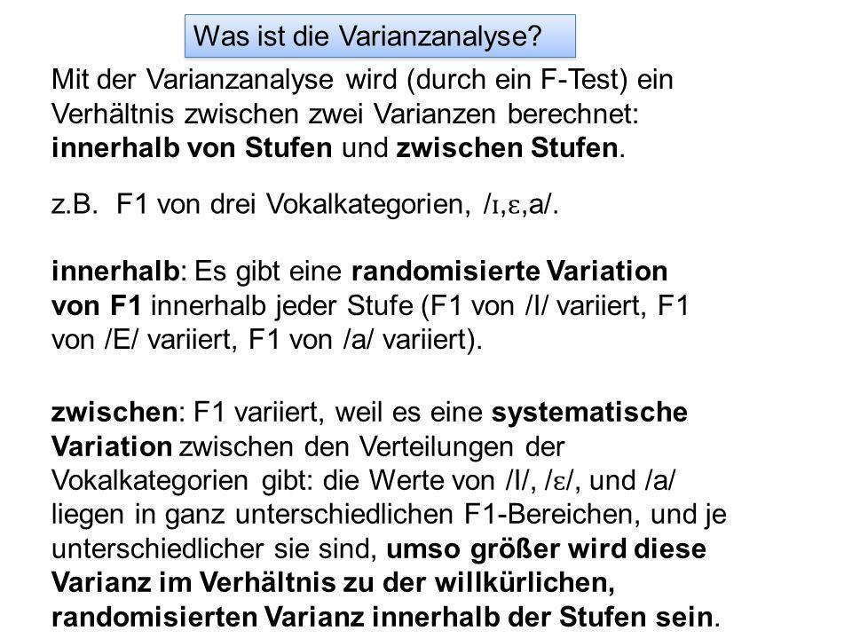 Was ist die Varianzanalyse? Mit der Varianzanalyse wird (durch ein F-Test) ein Verhältnis zwischen zwei Varianzen berechnet: innerhalb von Stufen und