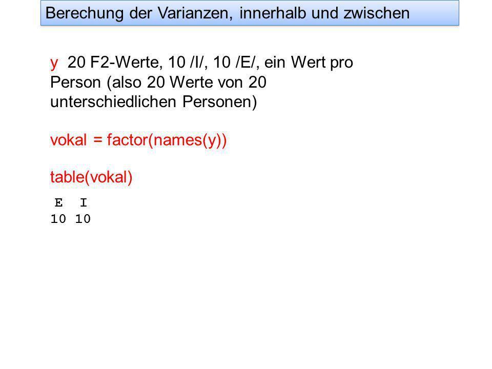 y 20 F2-Werte, 10 /I/, 10 /E/, ein Wert pro Person (also 20 Werte von 20 unterschiedlichen Personen) vokal = factor(names(y)) Berechung der Varianzen, innerhalb und zwischen table(vokal) E I 10