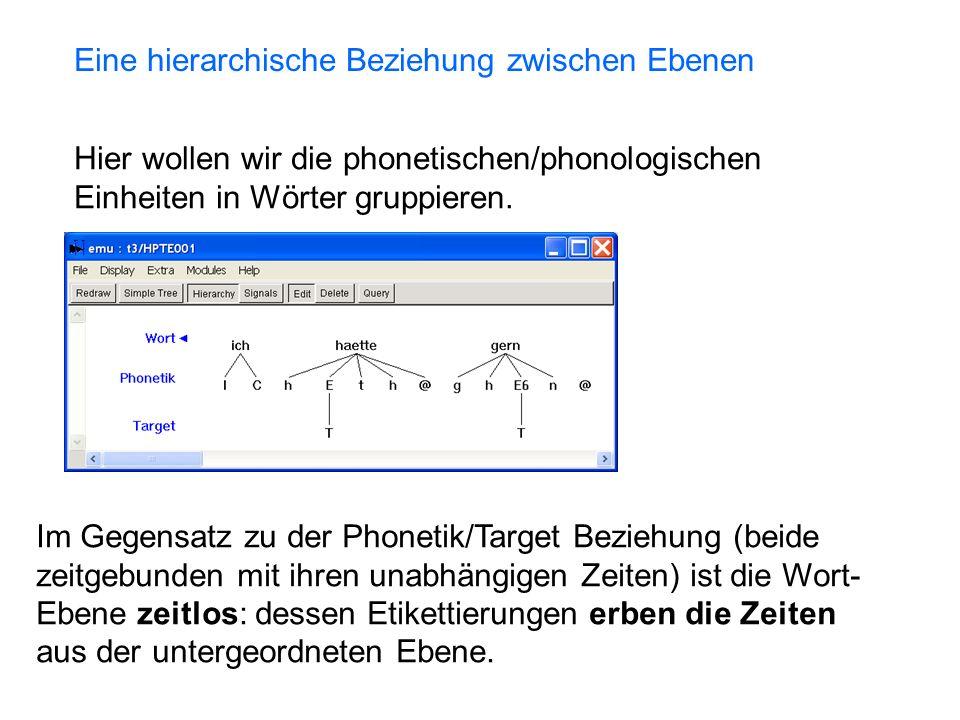 Hier wollen wir die phonetischen/phonologischen Einheiten in Wörter gruppieren.