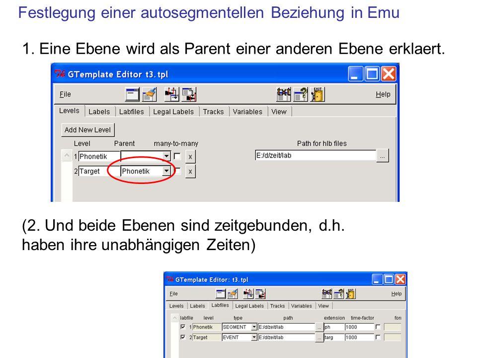 Festlegung einer autosegmentellen Beziehung in Emu 1.