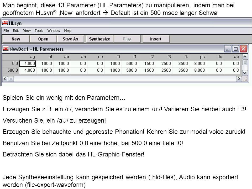 Man beginnt, diese 13 Parameter (HL Parameters) zu manipulieren, indem man bei geöffnetem HLsyn ® New anfordert Default ist ein 500 msec langer Schwa