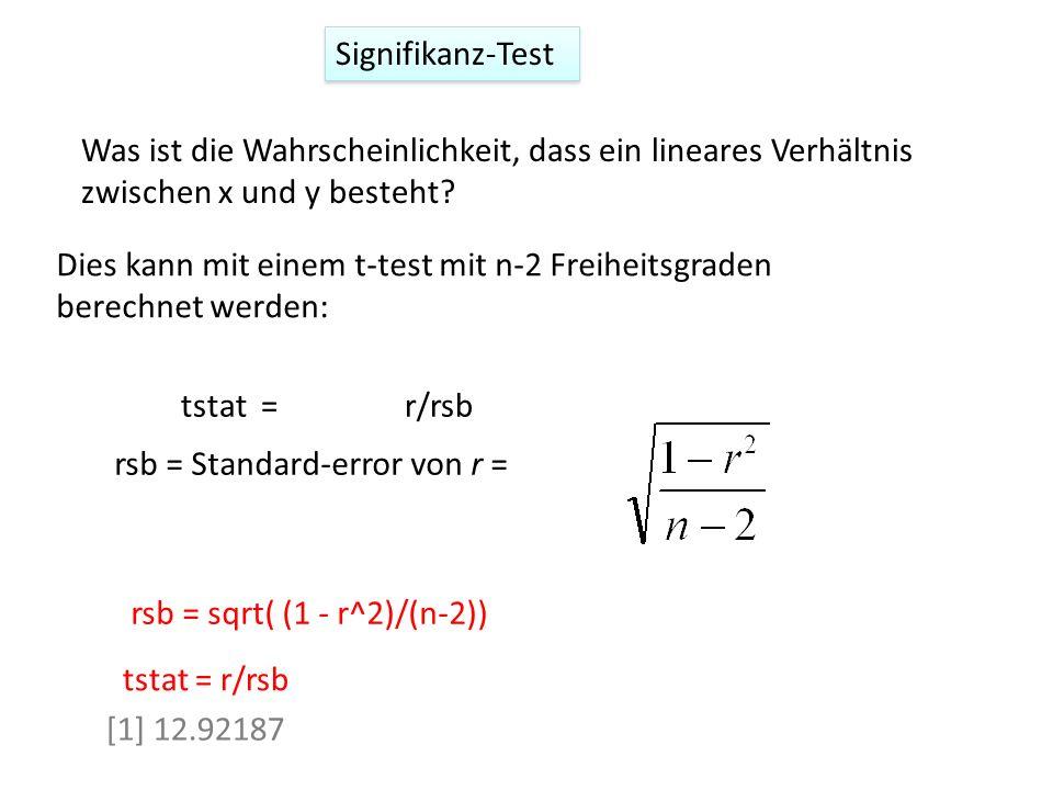 Signifikanz-Test Was ist die Wahrscheinlichkeit, dass ein lineares Verhältnis zwischen x und y besteht? rsb = Standard-error von r = rsb = sqrt( (1 -