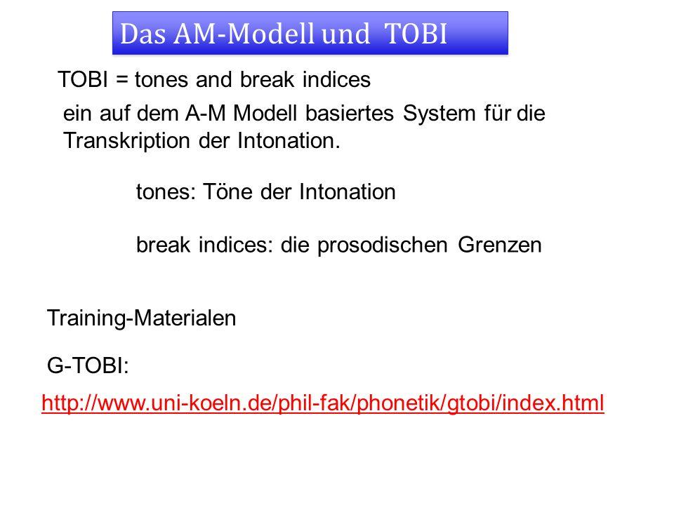 Das AM-Modell und TOBI TOBI = tones and break indices ein auf dem A-M Modell basiertes System für die Transkription der Intonation.