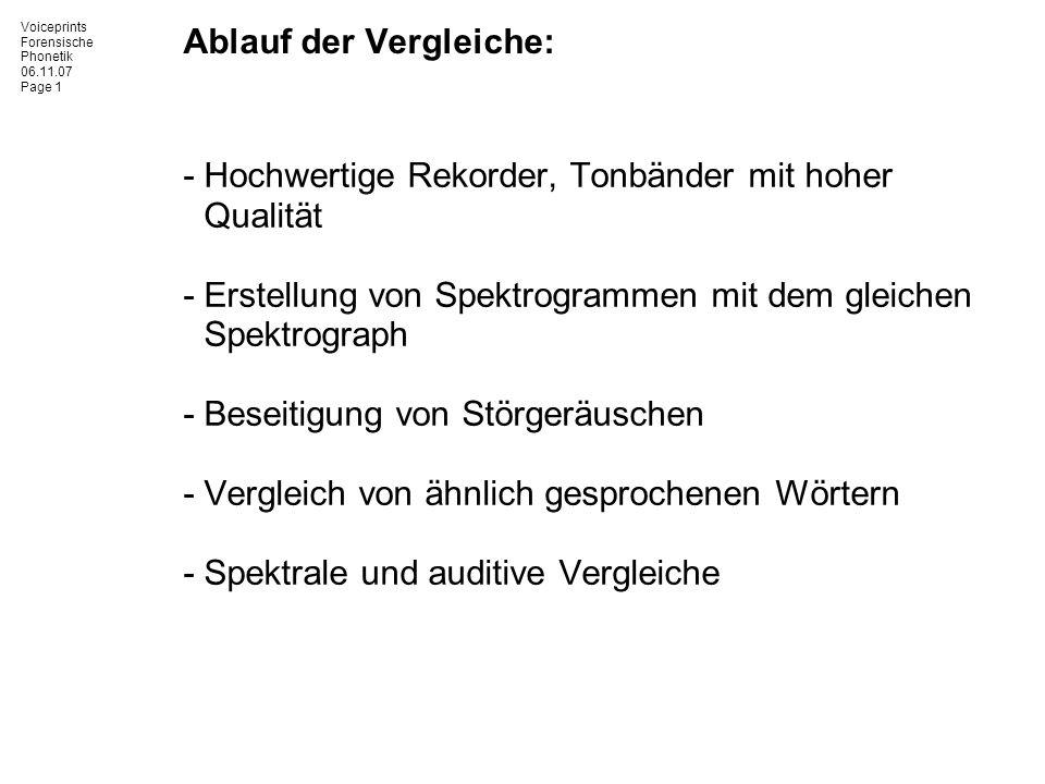 Voiceprints Forensische Phonetik 06.11.07 Page 1 Ablauf der Vergleiche: -Hochwertige Rekorder, Tonbänder mit hoher Qualität -Erstellung von Spektrogra