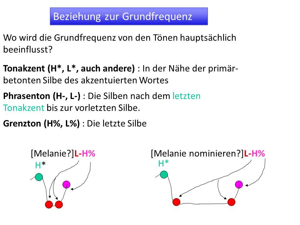 Beziehung zur Grundfrequenz Tonakzent (H*, L*, auch andere) : In der Nähe der primär- betonten Silbe des akzentuierten Wortes Grenzton (H%, L%) : Die letzte Silbe Phrasenton (H-, L-) : Die Silben nach dem letzten Tonakzent bis zur vorletzten Silbe.