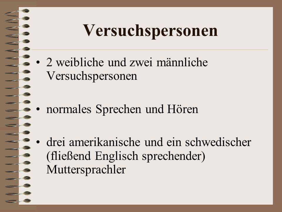 Versuchspersonen 2 weibliche und zwei männliche Versuchspersonen normales Sprechen und Hören drei amerikanische und ein schwedischer (fließend Englisch sprechender) Muttersprachler