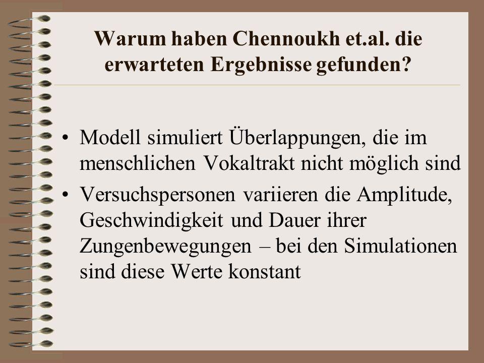 Warum haben Chennoukh et.al. die erwarteten Ergebnisse gefunden? Modell simuliert Überlappungen, die im menschlichen Vokaltrakt nicht möglich sind Ver