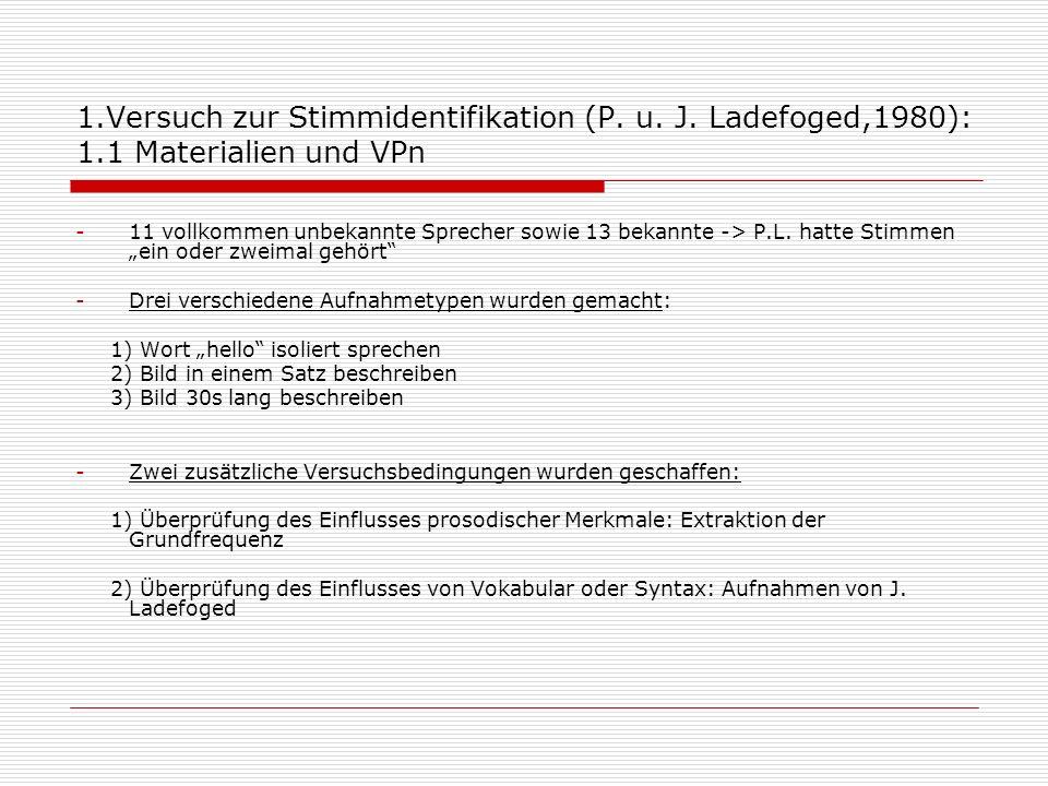 1.Versuch zur Stimmidentifikation (P. u. J. Ladefoged,1980): 1.1 Materialien und VPn -11 vollkommen unbekannte Sprecher sowie 13 bekannte -> P.L. hatt