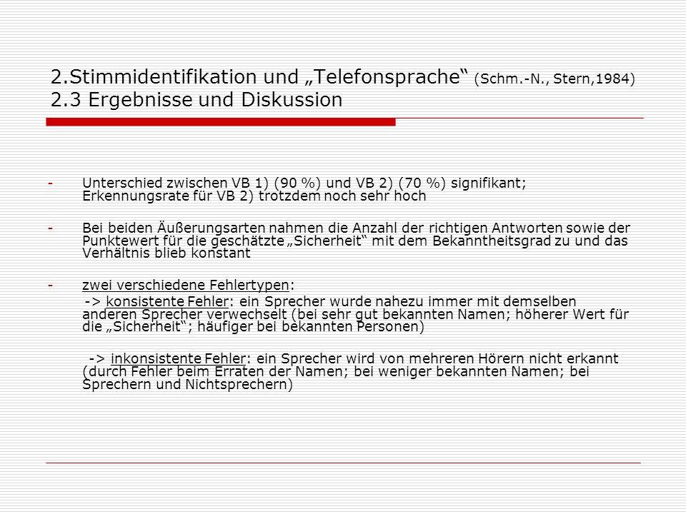 2.Stimmidentifikation und Telefonsprache (Schm.-N., Stern,1984) 2.3 Ergebnisse und Diskussion -Unterschied zwischen VB 1) (90 %) und VB 2) (70 %) sign