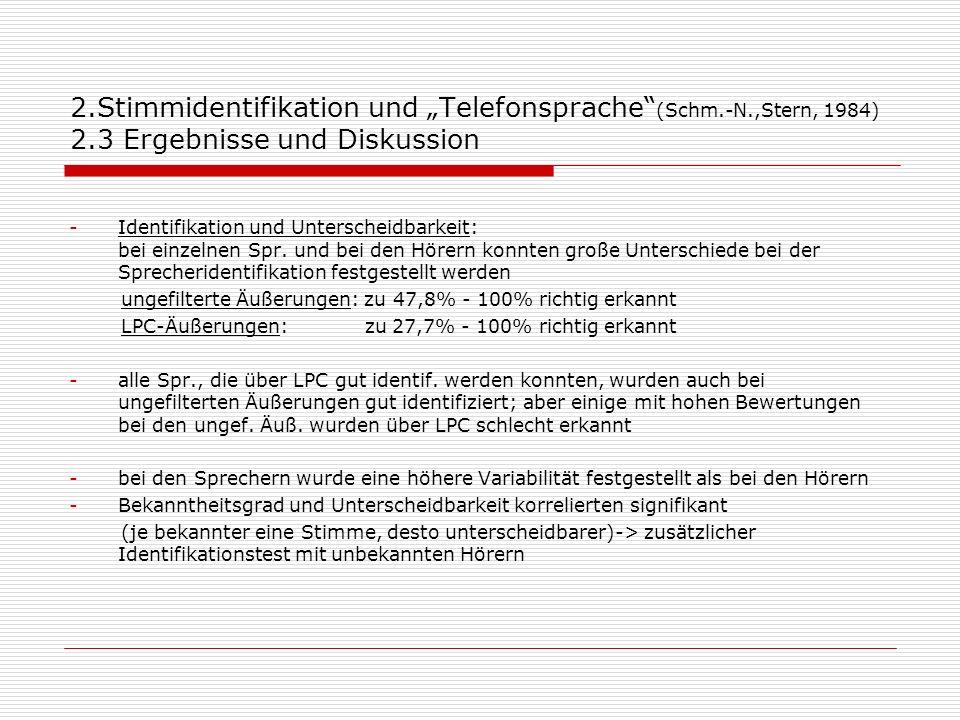 2.Stimmidentifikation und Telefonsprache (Schm.-N.,Stern, 1984) 2.3 Ergebnisse und Diskussion -Identifikation und Unterscheidbarkeit: bei einzelnen Sp