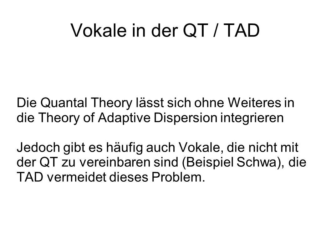 Vokale in der QT / TAD Die Quantal Theory lässt sich ohne Weiteres in die Theory of Adaptive Dispersion integrieren Jedoch gibt es häufig auch Vokale, die nicht mit der QT zu vereinbaren sind (Beispiel Schwa), die TAD vermeidet dieses Problem.