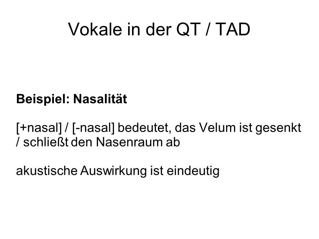 Vokale in der QT / TAD Beispiel: Nasalität [+nasal] / [-nasal] bedeutet, das Velum ist gesenkt / schließt den Nasenraum ab akustische Auswirkung ist eindeutig