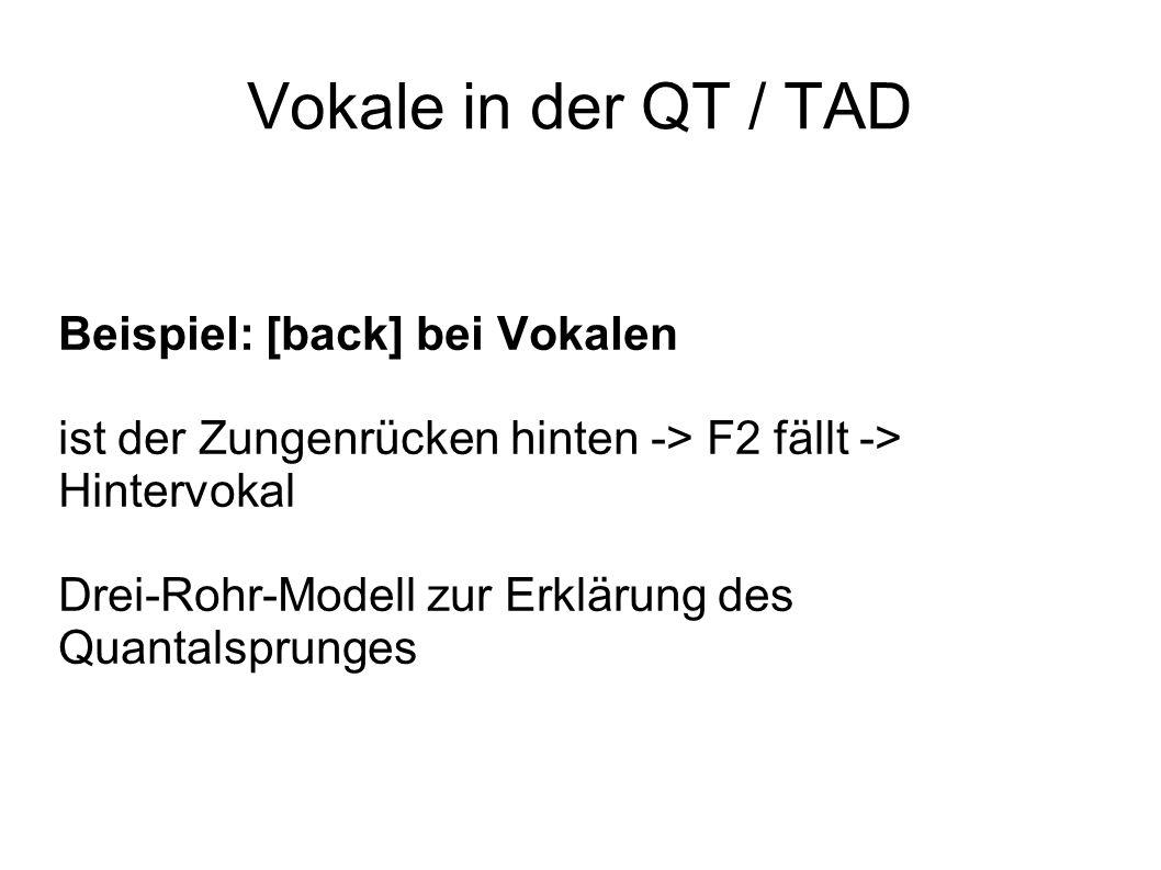 Vokale in der QT / TAD Beispiel: [back] bei Vokalen ist der Zungenrücken hinten -> F2 fällt -> Hintervokal Drei-Rohr-Modell zur Erklärung des Quantals