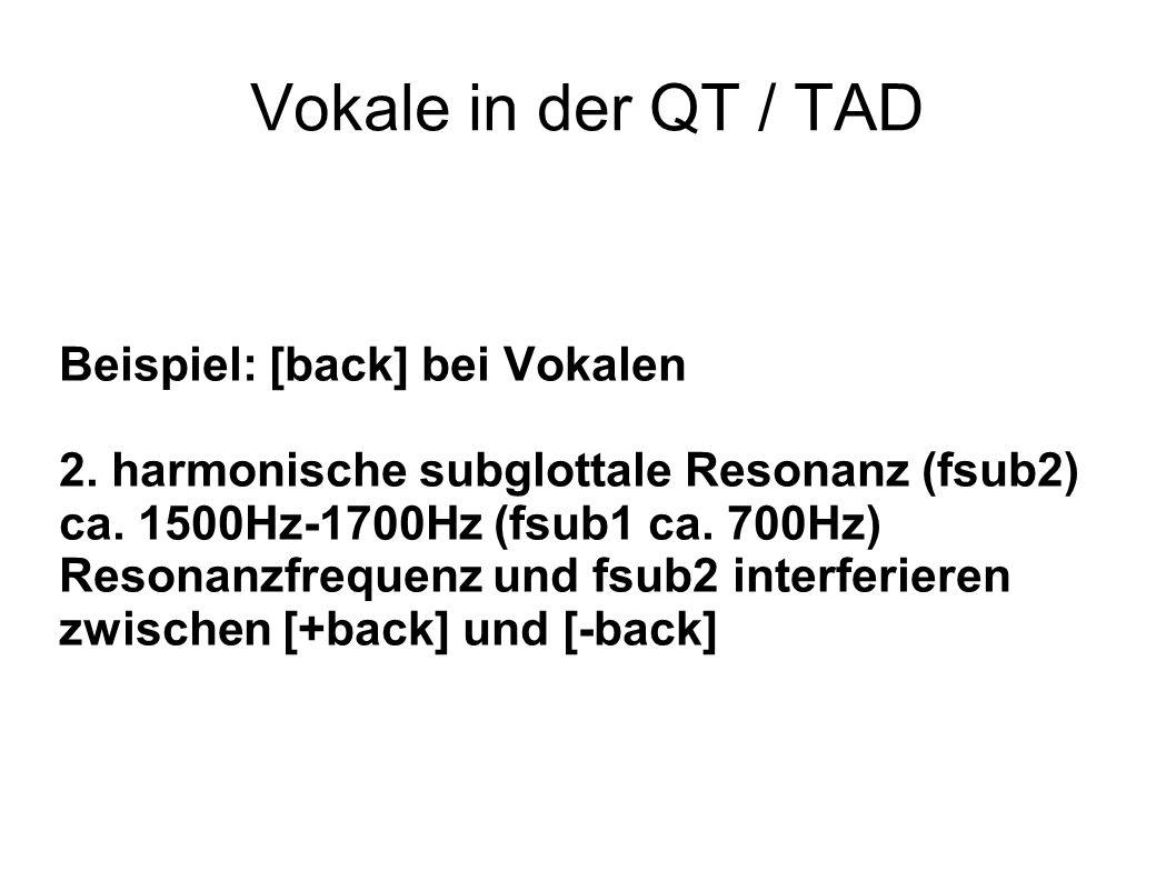 Vokale in der QT / TAD Beispiel: [back] bei Vokalen 2. harmonische subglottale Resonanz (fsub2) ca. 1500Hz-1700Hz (fsub1 ca. 700Hz) Resonanzfrequenz u