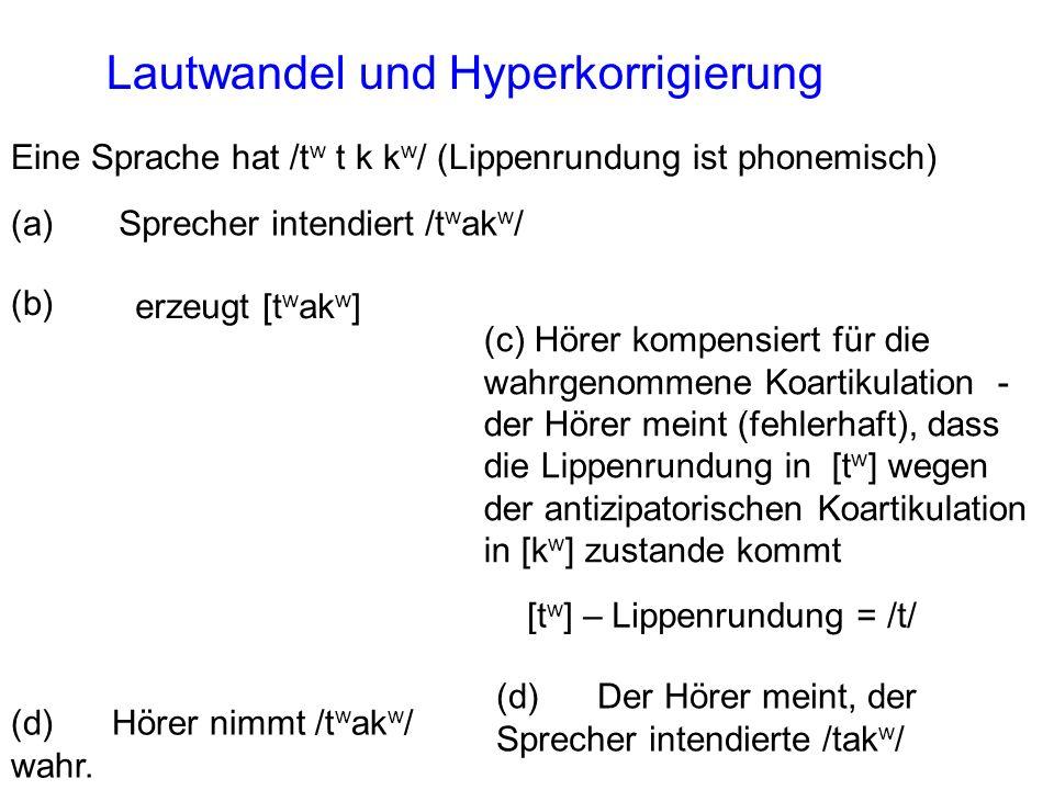 (d) Hörer nimmt /t w ak w / wahr. Sprecher intendiert /t w ak w /(a) erzeugt [t w ak w ] (b) Eine Sprache hat /t w t k k w / (Lippenrundung ist phonem