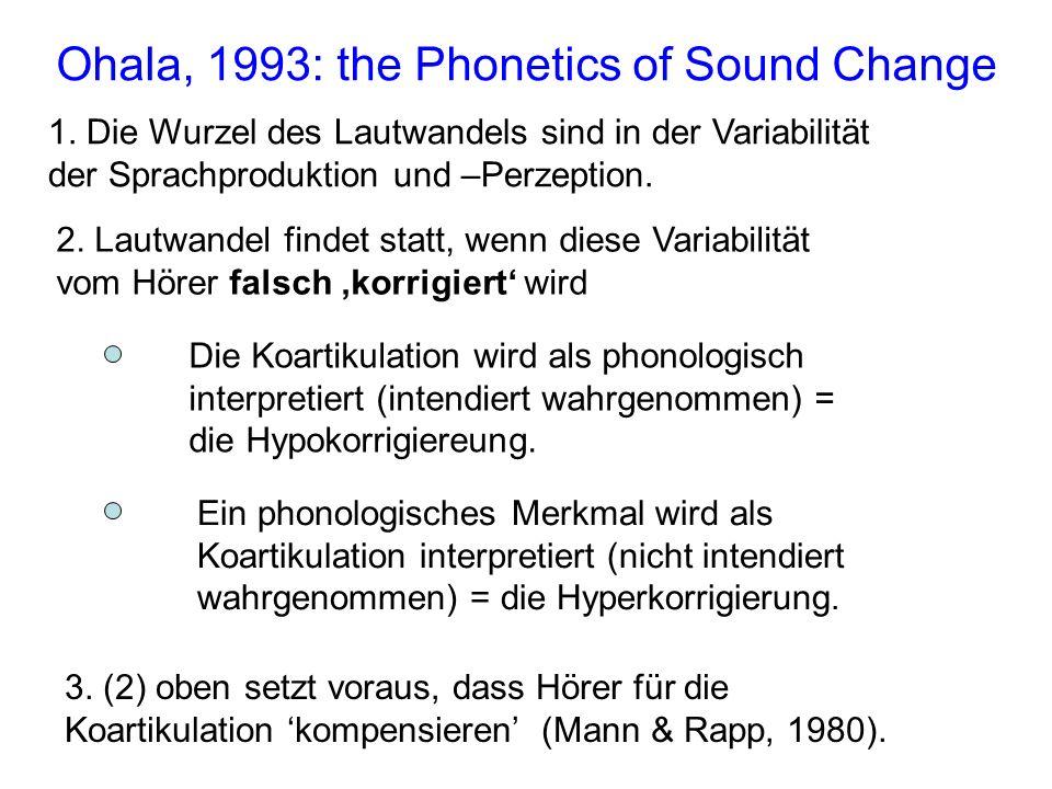1. Die Wurzel des Lautwandels sind in der Variabilität der Sprachproduktion und –Perzeption. Ohala, 1993: the Phonetics of Sound Change 2. Lautwandel