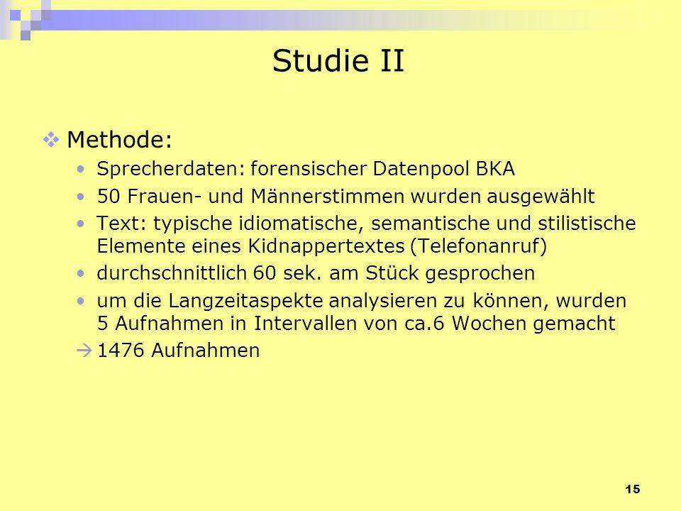 15 Studie II Methode: Sprecherdaten: forensischer Datenpool BKA 50 Frauen- und Männerstimmen wurden ausgewählt Text: typische idiomatische, semantisch