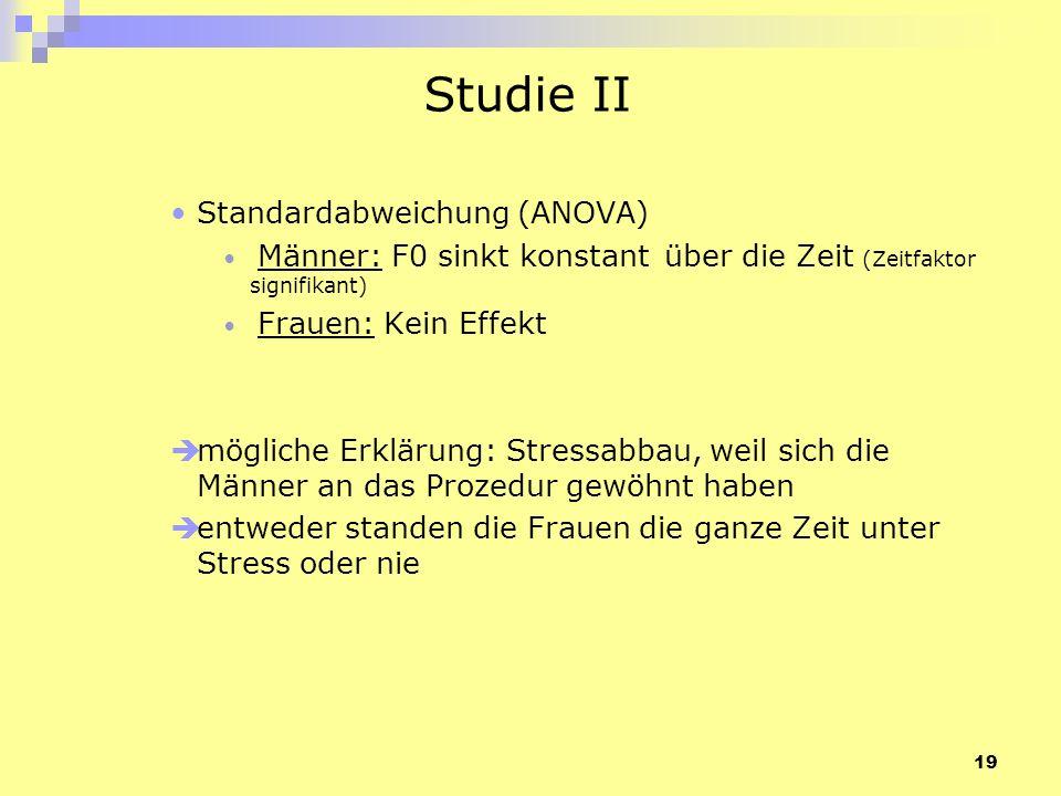 19 Studie II Standardabweichung (ANOVA) Männer: F0 sinkt konstant über die Zeit (Zeitfaktor signifikant) Frauen: Kein Effekt mögliche Erklärung: Stres
