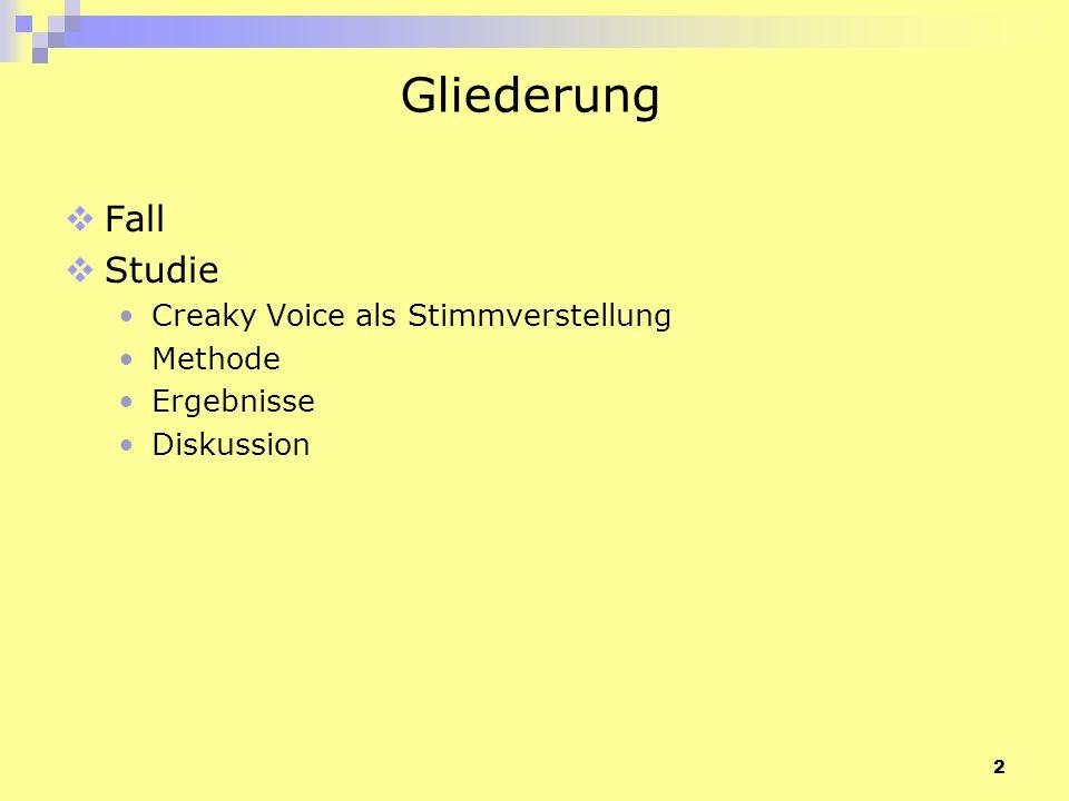 2 Gliederung Fall Studie Creaky Voice als Stimmverstellung Methode Ergebnisse Diskussion