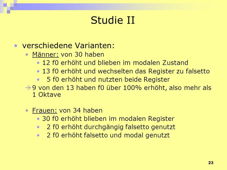 23 Studie II verschiedene Varianten: Männer: von 30 haben 12 f0 erhöht und blieben im modalen Zustand 13 f0 erhöht und wechselten das Register zu fals