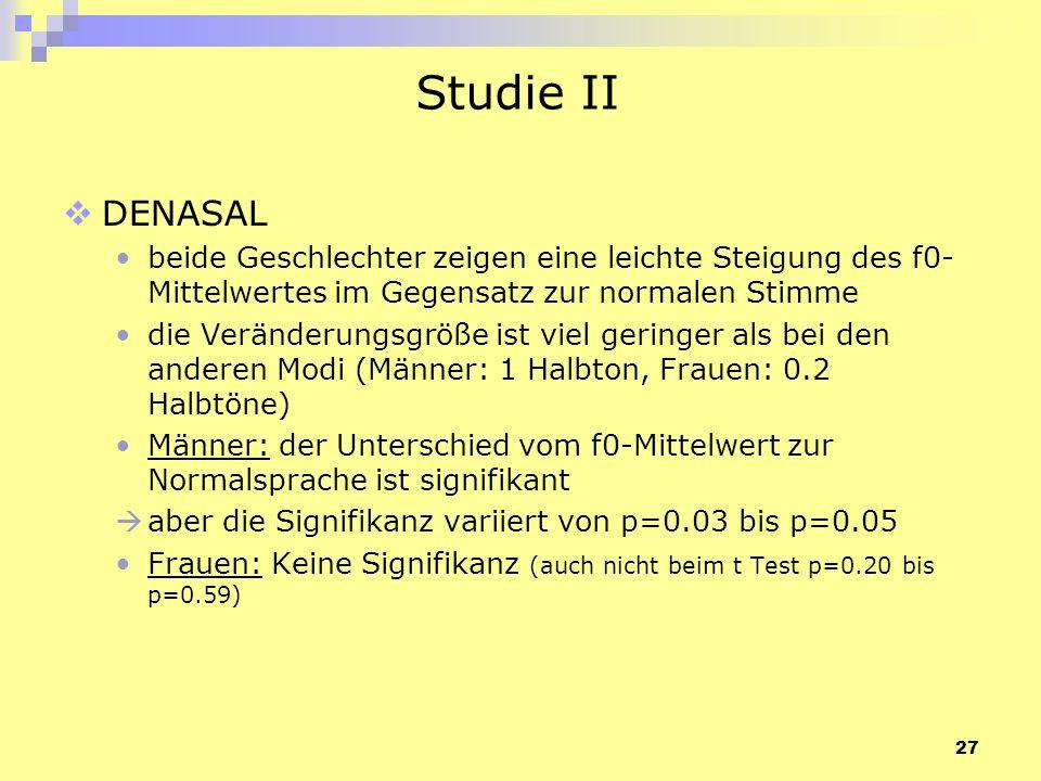 27 Studie II DENASAL beide Geschlechter zeigen eine leichte Steigung des f0- Mittelwertes im Gegensatz zur normalen Stimme die Veränderungsgröße ist v