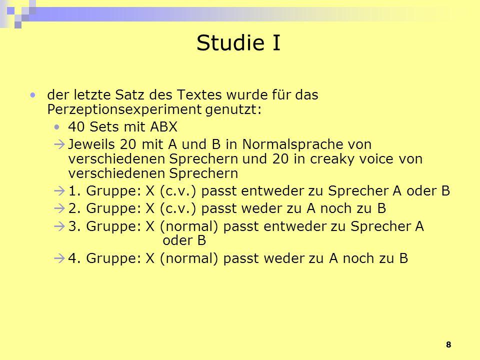 9 Studie I die Reihenfolge von A und B innerhalb der Triplets und die Sequenz der Triplets waren zufällig jedes Triplet wurde 2x präsentiert 15 trainierte Hörer (Gruppe P) und 12 untrainierte Hörer (Gruppe N) sollten entscheiden ob X vom Sprecher A, B oder von keinem von beiden gesprochen wurde