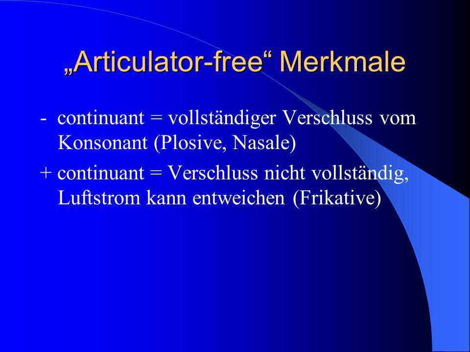 Articulator-free Merkmale - continuant = vollständiger Verschluss vom Konsonant (Plosive, Nasale) + continuant = Verschluss nicht vollständig, Luftstrom kann entweichen (Frikative)